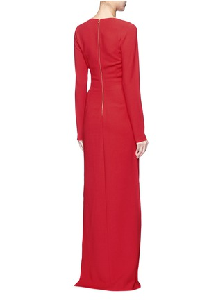 Back View - Click To Enlarge - Lanvin - Ruched bow waist wool blend gown