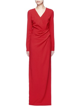 Main View - Click To Enlarge - Lanvin - Ruched bow waist wool blend gown