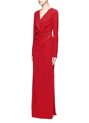 Figure View - Click To Enlarge - Lanvin - Ruched bow waist wool blend gown