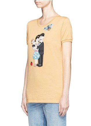 Front View - Click To Enlarge - Dolce & Gabbana - Embellished DG Family appliqué T-shirt
