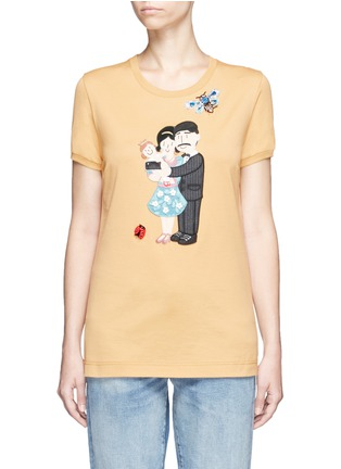 Main View - Click To Enlarge - Dolce & Gabbana - Embellished DG Family appliqué T-shirt