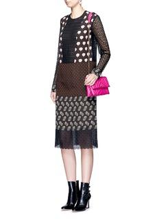 LanvinMix print silk panel broderie anglaise dress