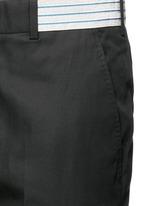 Metallic waistband cotton twill pants