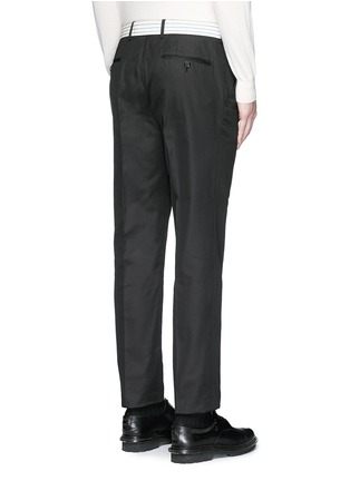 Back View - Click To Enlarge - Alexander McQueen - Metallic waistband cotton twill pants