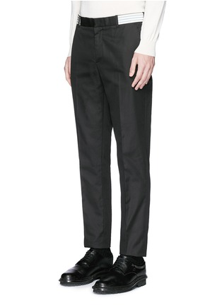 Front View - Click To Enlarge - Alexander McQueen - Metallic waistband cotton twill pants