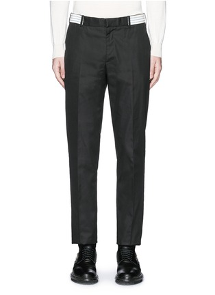 Main View - Click To Enlarge - Alexander McQueen - Metallic waistband cotton twill pants