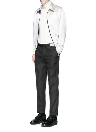 Figure View - Click To Enlarge - Alexander McQueen - Metallic waistband cotton twill pants