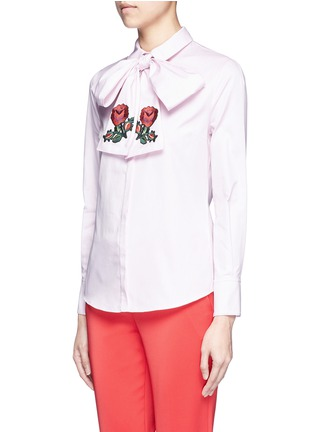 Front View - Click To Enlarge - Gucci - Floral embroidered scarf Oxford shirt