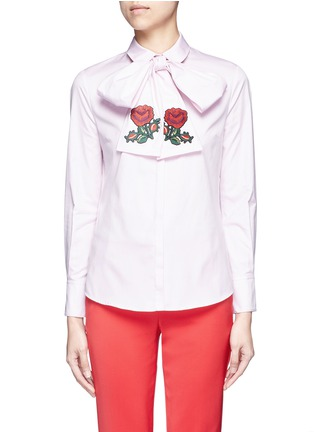 Main View - Click To Enlarge - Gucci - Floral embroidered scarf Oxford shirt
