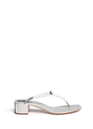 René Caovilla-Faux pearl crystal T-strap sandals