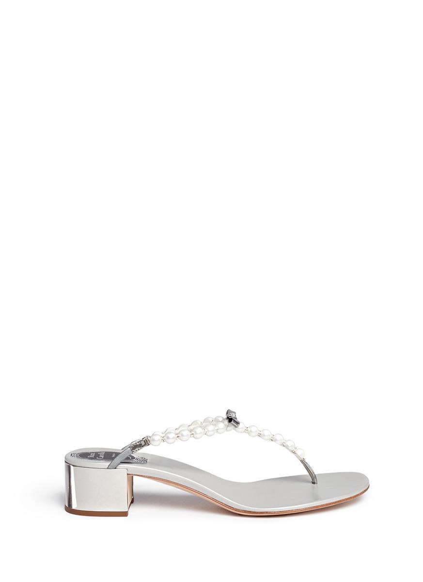 Faux pearl crystal T-strap sandals by René Caovilla