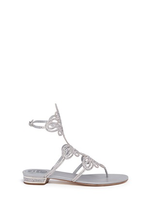 Main View - Click To Enlarge - René Caovilla - Strass pavé cutout satin sandals