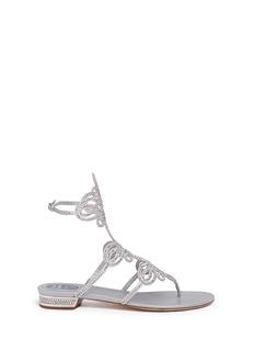 RENÉ CAOVILLAStrass pavé cutout satin sandals