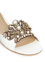 Strass pearl appliqué leather slide sandals
