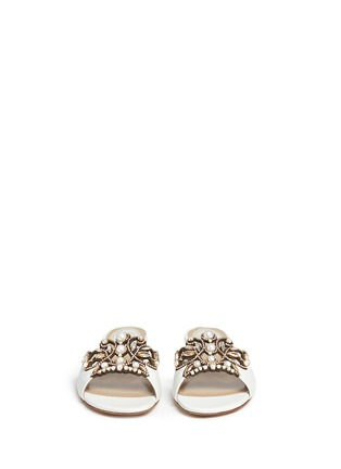 Front View - Click To Enlarge - René Caovilla - Strass pearl appliqué leather slide sandals