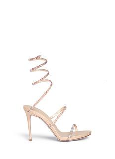 RENÉ CAOVILLA'Snake' strass pavé spring coil anklet sandals