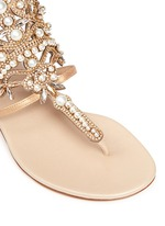 Strass faux pearl embellished leather thong sandals