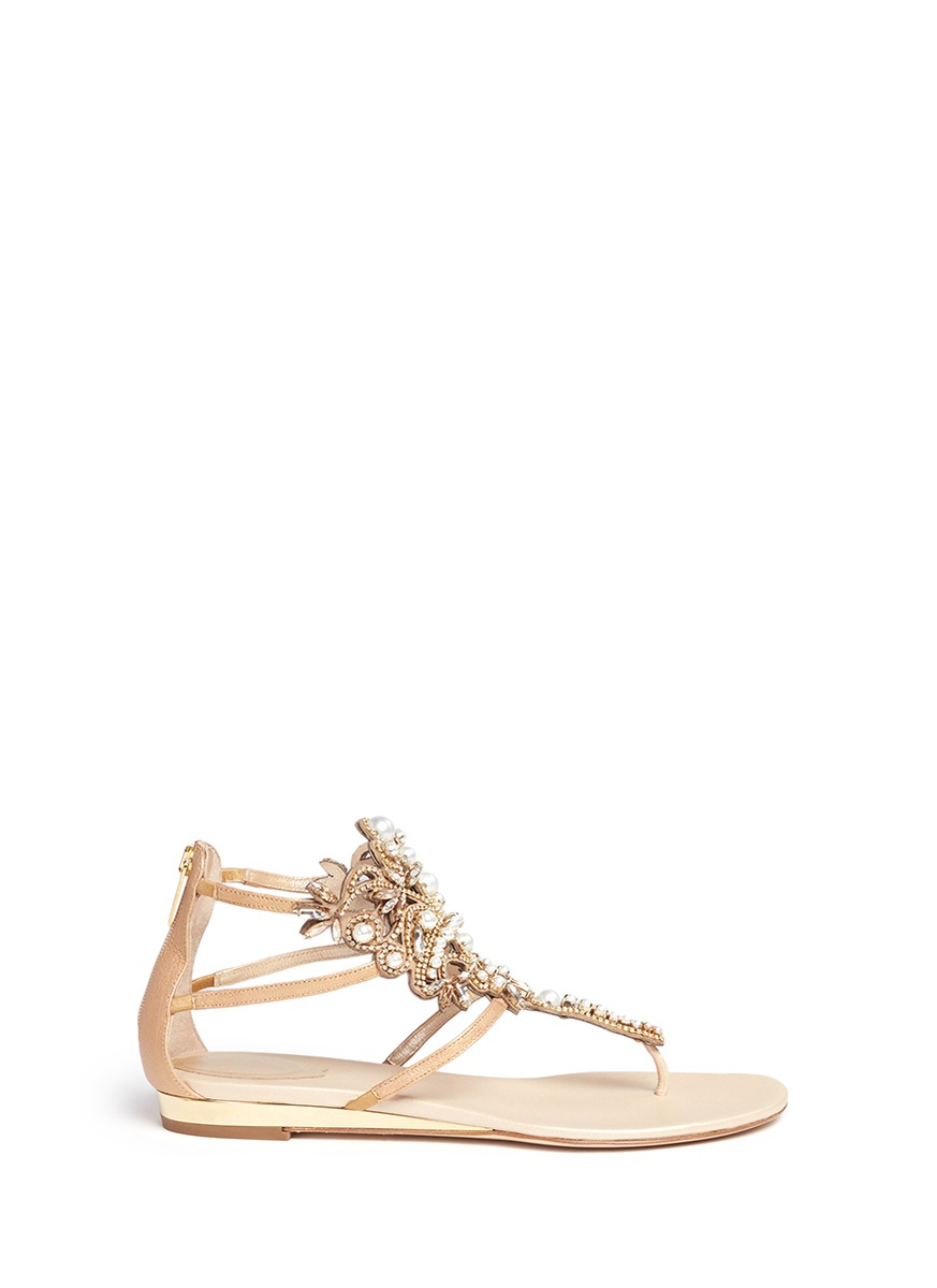 Strass faux pearl embellished leather thong sandals by René Caovilla