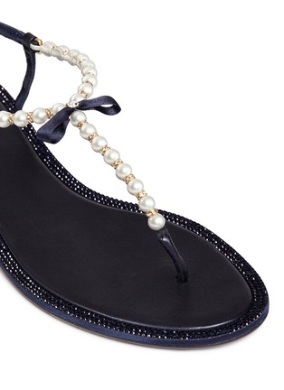 Detail View - Click To Enlarge - René Caovilla - Strass border faux pearl T-strap sandals