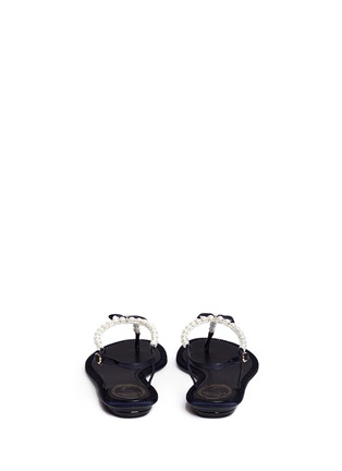 Back View - Click To Enlarge - René Caovilla - Strass border faux pearl T-strap sandals
