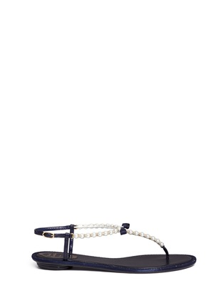 Main View - Click To Enlarge - René Caovilla - Strass border faux pearl T-strap sandals