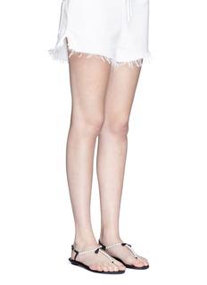 René Caovilla Strass border faux pearl T-strap sandals