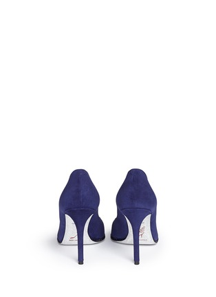 Back View - Click To Enlarge - René Caovilla - Strass trim suede pumps