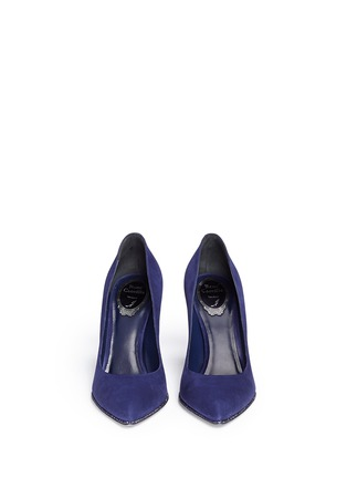 Front View - Click To Enlarge - René Caovilla - Strass trim suede pumps