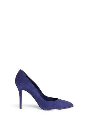 Main View - Click To Enlarge - René Caovilla - Strass trim suede pumps