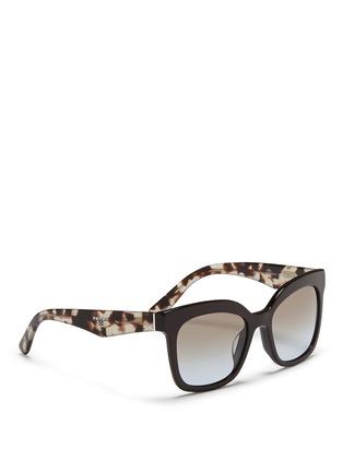 Figure View - Click To Enlarge - Prada - Colourblock tortoiseshell acetate square sunglasses