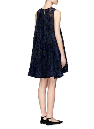 Back View - Click To Enlarge - VICTORIA, VICTORIA BECKHAM - Floral jacquard pleat back flare dress