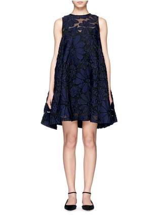 Main View - Click To Enlarge - VICTORIA, VICTORIA BECKHAM - Floral jacquard pleat back flare dress