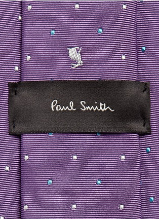 Paul Smith - Rabbit polka dot embroidery silk tie