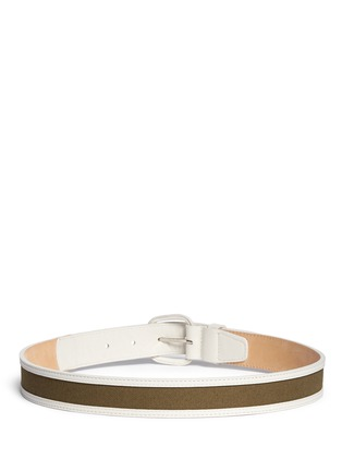 Maison Boinet-Canvas trim leather belt