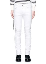 'MX2' leather patchwork distressed skinny jeans