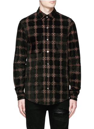 Amiri - Windowpane check suede shirt