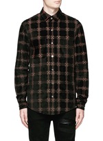 Windowpane check suede shirt