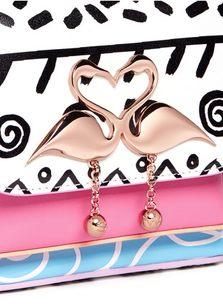 Detail View - Click To Enlarge - Sophia Webster - 'Claudie' flamingo charm leather flap bag in Kapowski print