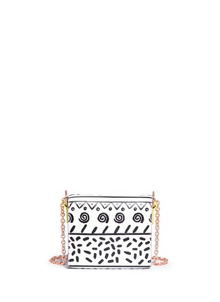 Back View - Click To Enlarge - Sophia Webster - 'Claudie' flamingo charm leather flap bag in Kapowski print