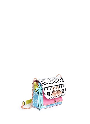 Front View - Click To Enlarge - Sophia Webster - 'Claudie' flamingo charm leather flap bag in Kapowski print