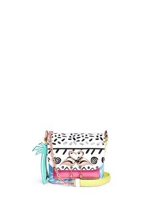 Main View - Click To Enlarge - Sophia Webster - 'Claudie' flamingo charm leather flap bag in Kapowski print