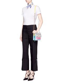 Sophia Webster 'Claudie' flamingo charm leather flap bag in Kapowski print