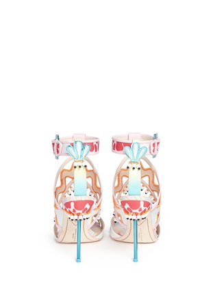 Back View - Click To Enlarge - Sophia Webster - 'Nereida' bead fringe embroidered mixed leather sandals
