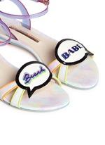 'Ellen Beach Babe' slogan patch leather sandals