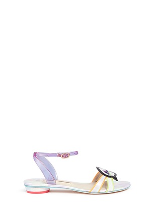 Main View - Click To Enlarge - Sophia Webster - 'Ellen Beach Babe' slogan patch leather sandals