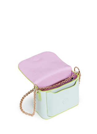 Detail View - Click To Enlarge - Sophia Webster - 'Claudie' flamingo charm leather flap bag