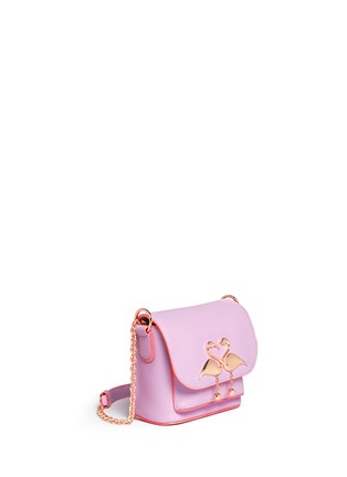 Front View - Click To Enlarge - Sophia Webster - 'Claudie' flamingo charm leather flap bag