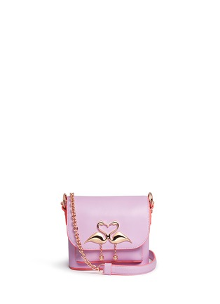 Main View - Click To Enlarge - Sophia Webster - 'Claudie' flamingo charm leather flap bag