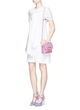 Figure View - Click To Enlarge - Sophia Webster - 'Claudie' flamingo charm leather flap bag