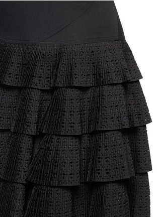 Detail View - Click To Enlarge - Alaïa - 'Vienne' geometric perforated plissé pleat skirt